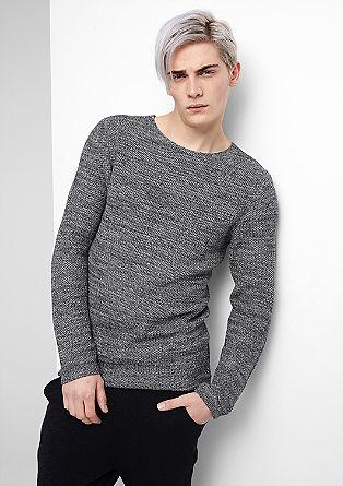 Pullover aus zweifarbigem Strick