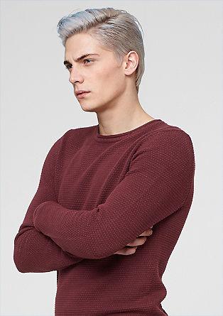 Pullover mit Perlstrick-Struktur