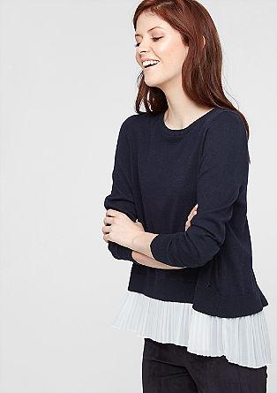 Pullover mit Plissee-Futter