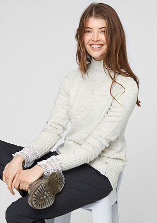 Pullover mit Ripp-Stehkragen