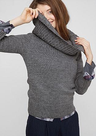 Pullover mit Zopfstrick-Kragen