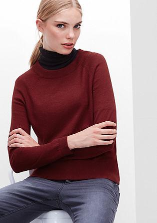 Pulover iz tanke pletenine iz volnene mešanice