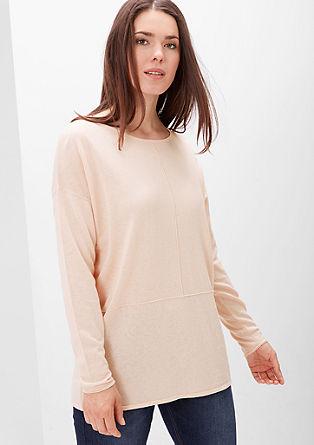 Pulover iz volnene mešanice z všitki