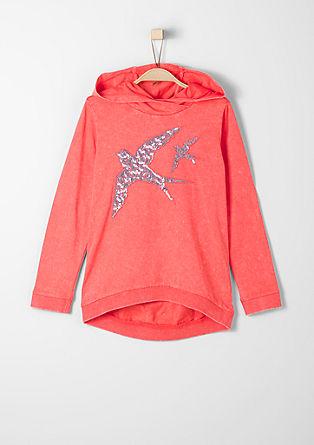 Pulover s kapuco trendovskih barv, z bleščicami