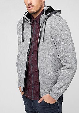 Pulover s kapuco v videzu pletenine