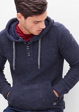 Pulover s kapuco z vzorcem s teksturo