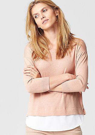 Pulover z večplastnim krepom