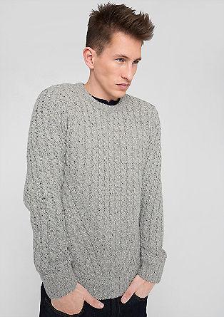 Pulover z vzorcem pletenih kit iz volnene mešanice