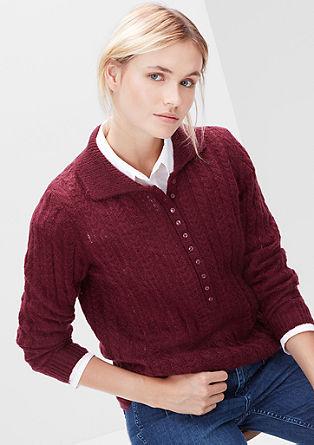 pulover z vzorcem s kitami in z moherjem