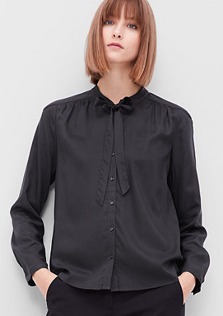 Pussy bow blouse with textured pattern from s.Oliver