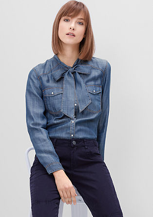 Pussybow blouse in a denim look from s.Oliver
