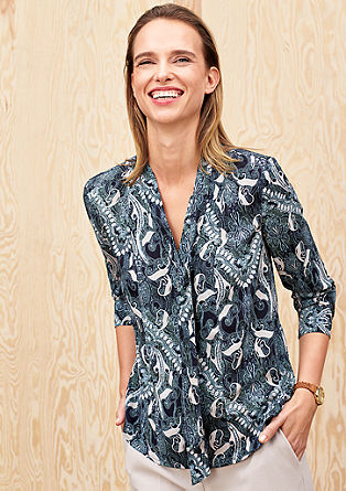 Pussycat bow blouse with an all-over print from s.Oliver
