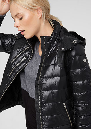 Quilted down jacket with a hood from s.Oliver
