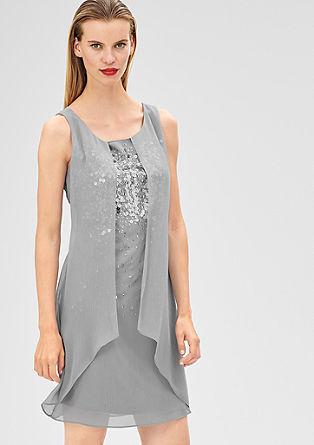 Ragfijne chiffon jurk met pailletjes