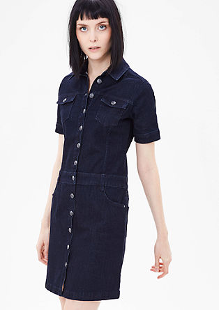 raztegljiva jeans obleka z gumbi