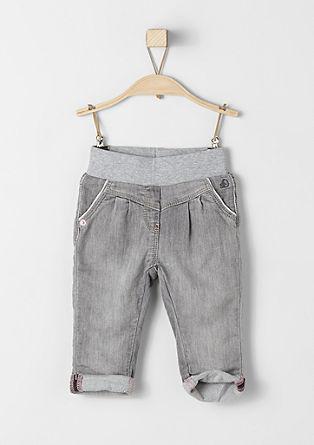 Raztegljive jeans hlače z rebrastim pasom