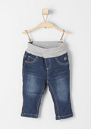 raztegljive jeans hlače z rebrastim robom