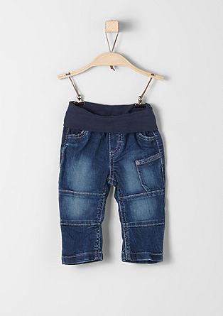 Raztegljive jeans hlače z rebrastim robom v pasu