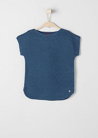 Rebrast pulover s kratkimi rokavi