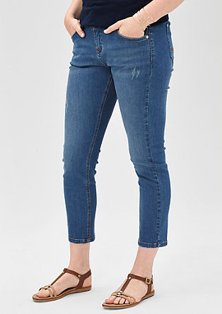 Regular: 7/8-Jeans mit Destroyes