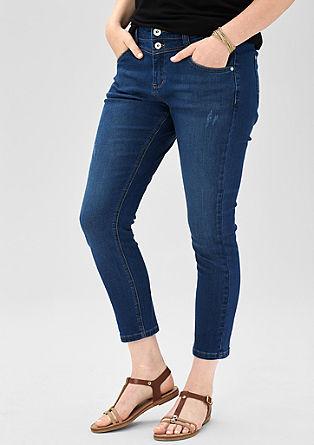 Regular: 7/8-Jeans mit Destroyes