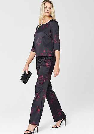 Regular: Asian-style satin trousers from s.Oliver