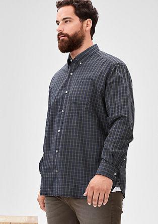 Regular: Baumwollhemd mit Karos