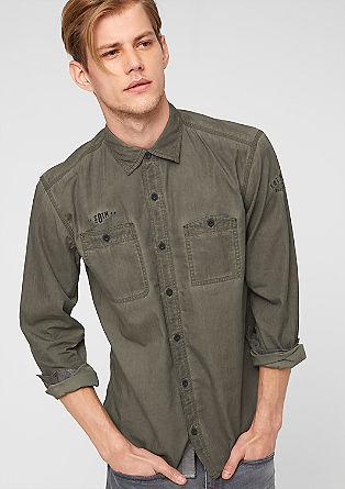 Regular: Besticktes Pigment Dye-Hemd