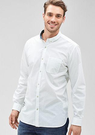 Regular: fil-à-fil overhemd met stiksels