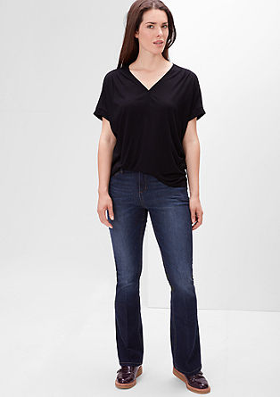 Regular: Flared jeans met een used look