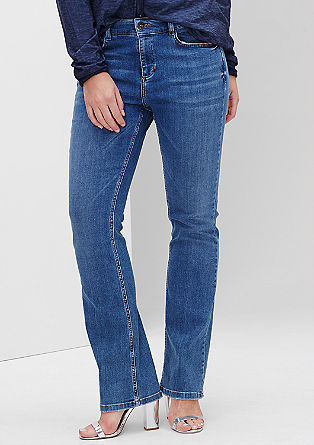 Regular: Flared jeans met slijtageplekken