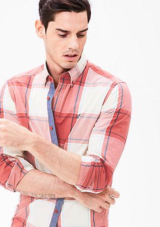 Regular: geruit overhemd met buttondownkraag