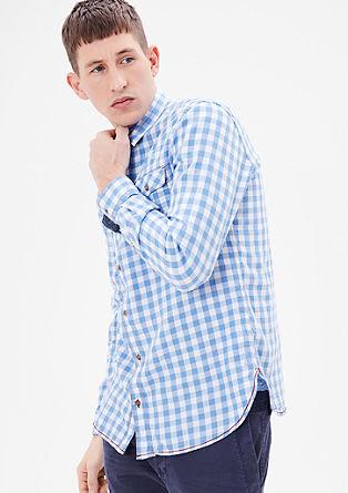 Regular: geruit overhemd met contrastnaden