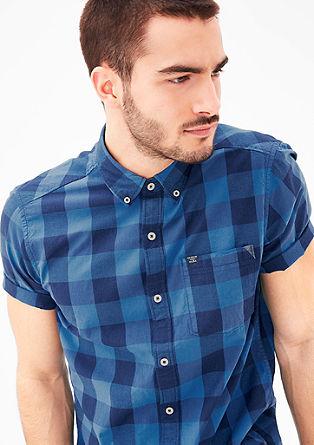 Regular: geruit overhemd met korte mouwen