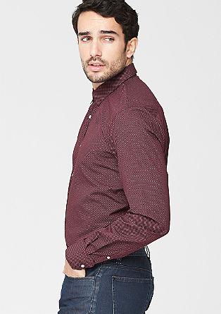 Regular: gestippeld overhemd van popeline