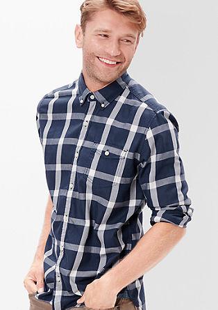 Regular: Groß kariertes Langarmhemd