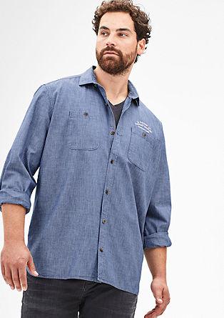 Regular: Hemd in Denim-Optik