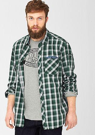 Regular: Hemd mit Denim-Details
