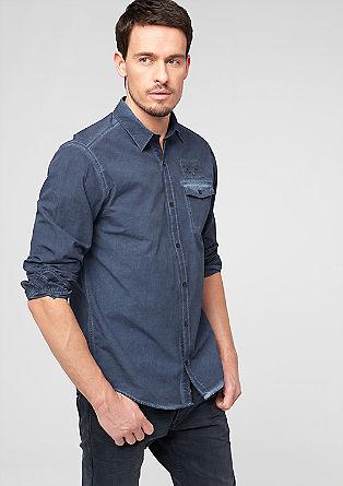Regular: Hemd mit Wascheffekt
