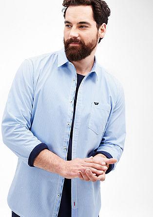 Regular: overhemd met geweven strepen