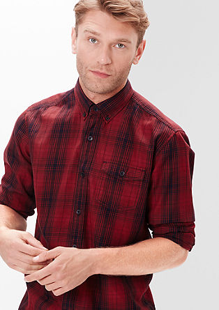 Regular: overhemd met grote ruiten en lange mouwen
