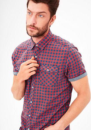 Regular: overhemd met korte mouwen en vichy-ruiten