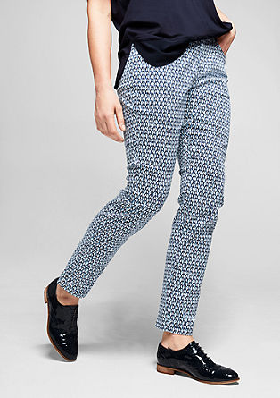 Regular: patterned 7/8-length satin trousers from s.Oliver