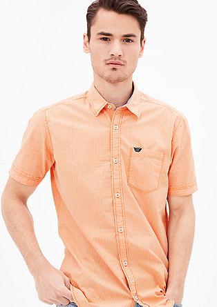 Regular: popeline overhemd met korte mouwen
