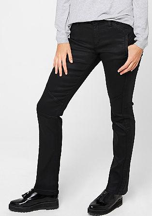 Regular: Rockige Kunstleder-Jeans