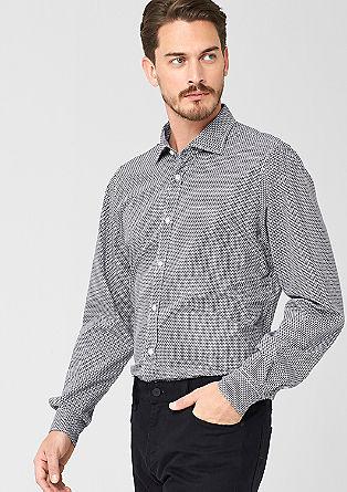 Regular: Schwarz-weißes Muster-Hemd