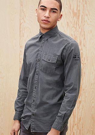 Regular: Twill-Hemd mit Waschung