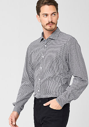 Regular: zwart-wit overhemd met motief