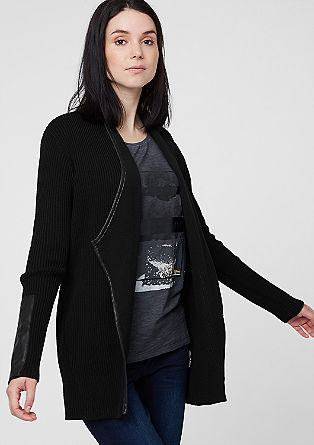 Rib knit cardigan with imitation leather from s.Oliver