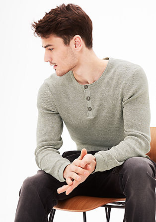 Rib knit Henley jumper with a melange effect from s.Oliver